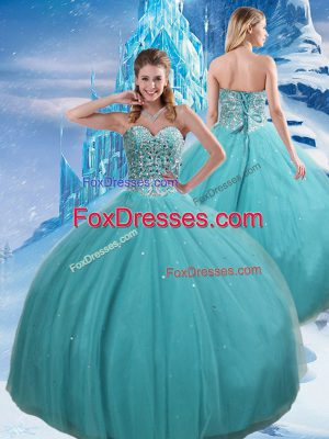 Fitting Aqua Blue Ball Gowns Beading and Sequins Quinceanera Gowns Lace Up Tulle Sleeveless Floor Length