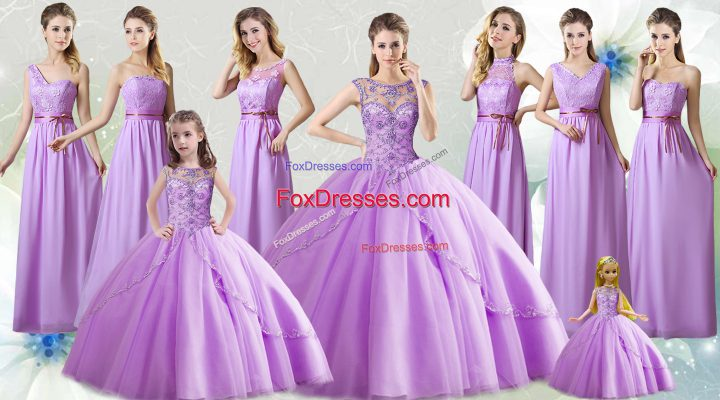Shining Lilac Ball Gowns Tulle Scoop Sleeveless Beading Floor Length Lace Up Quince Ball Gowns