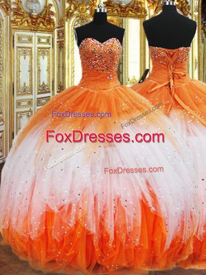 Sophisticated Multi-color Organza Lace Up Ball Gown Prom Dress Sleeveless Floor Length Beading and Ruffles