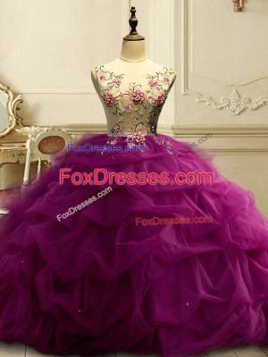 Noble Scoop Sleeveless Lace Up Ball Gown Prom Dress Fuchsia Organza
