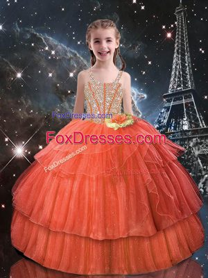 Short Sleeves Tulle Floor Length Lace Up Casual Dresses in Orange Red with Beading and Ruffled Layers