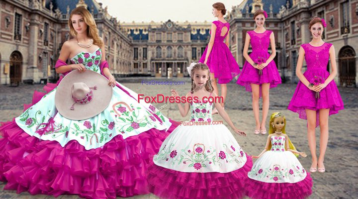 Customized Fuchsia Lace Up Sweetheart Embroidery and Ruffled Layers Quinceanera Gowns Organza Sleeveless