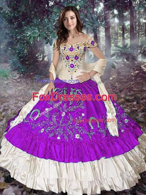 Ideal Ball Gowns Sweet 16 Quinceanera Dress Eggplant Purple Off The Shoulder Taffeta Sleeveless Floor Length Lace Up