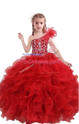 Trendy One Shoulder Sleeveless Lace Up Teens Party Dress Red Organza