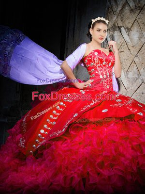 Red Lace Up Sweetheart Embroidery and Ruffles Quinceanera Dress Organza Sleeveless Brush Train