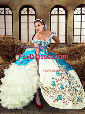 Off The Shoulder Sleeveless Lace Up 15 Quinceanera Dress Multi-color Taffeta