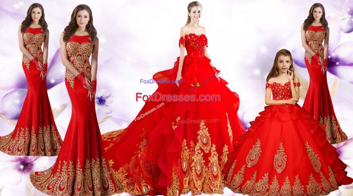 Stunning Red Sweetheart Lace Up Beading and Appliques and Embroidery Quinceanera Gown Brush Train Sleeveless