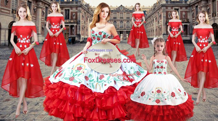 Embroidery and Ruffled Layers Sweet 16 Quinceanera Dress Red Lace Up Sleeveless Floor Length