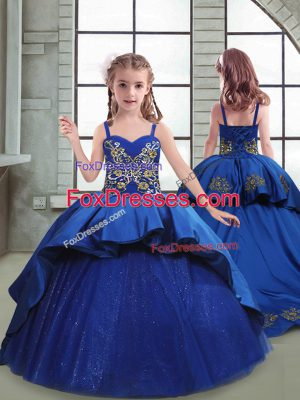 Trendy Sleeveless Taffeta and Tulle Brush Train Lace Up Party Dress in Royal Blue with Embroidery