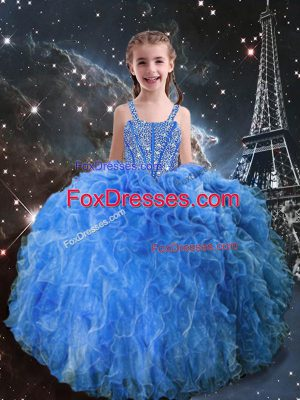 Floor Length Lace Up Party Dress Baby Blue for Quinceanera and Wedding Party with Beading and Ruffles
