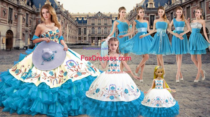 Clearance Sweetheart Sleeveless Organza Vestidos de Quinceanera Embroidery and Ruffled Layers Lace Up