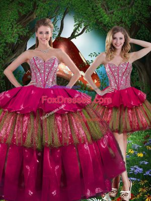 Burgundy Lace Up Quince Ball Gowns Beading and Ruffled Layers Sleeveless Floor Length