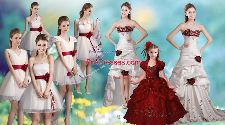 Glittering Beading and Appliques and Hand Made Flower Sweet 16 Quinceanera Dress White Zipper Sleeveless Brush Train