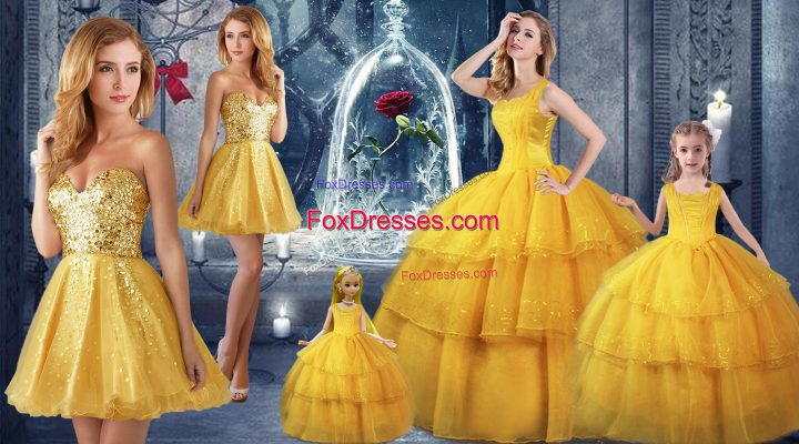 Organza Straps Sleeveless Lace Up Ruffled Layers 15 Quinceanera Dress in Gold