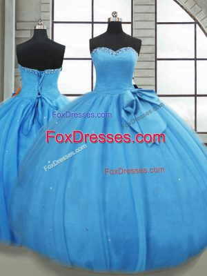 Baby Blue Sweetheart Lace Up Bowknot Quinceanera Dress Sleeveless