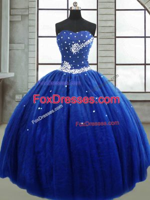 Sleeveless Tulle Floor Length Lace Up Sweet 16 Dress in Royal Blue with Beading