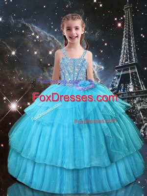 Affordable Aqua Blue Ball Gowns Beading and Ruffled Layers Party Dresses Lace Up Organza Sleeveless Floor Length