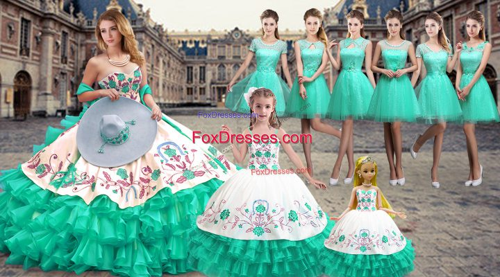 High Quality Floor Length Turquoise 15 Quinceanera Dress Sweetheart Sleeveless Lace Up