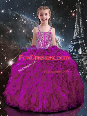 Straps Short Sleeves Lace Up Custom Made Fuchsia Organza
