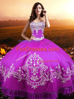 Nice Fuchsia Ball Gowns Beading and Appliques Quinceanera Dresses Lace Up Taffeta Sleeveless Floor Length