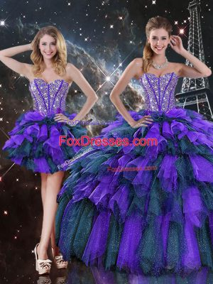 Graceful Sleeveless Floor Length Beading and Ruffles and Ruffled Layers Lace Up Quinceanera Dresses with Multi-color