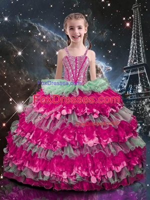 Multi-color Straps Neckline Beading and Ruffled Layers Party Dress for Toddlers Sleeveless Lace Up