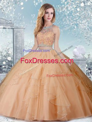 Top Selling Floor Length Champagne Sweet 16 Dresses Scoop Sleeveless Clasp Handle