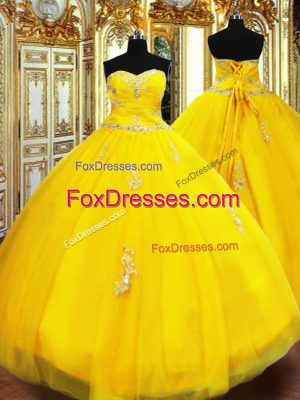 Classical Sweetheart Sleeveless Quinceanera Gowns Floor Length Beading and Appliques Gold Tulle