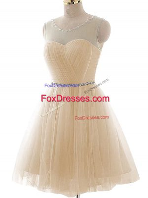 Best Champagne Tulle Lace Up Prom Evening Gown Sleeveless Floor Length Beading and Ruching