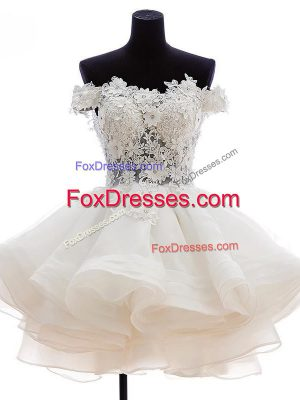 Sleeveless Knee Length Beading and Lace and Embroidery and Ruffles Zipper Prom Dresses with White