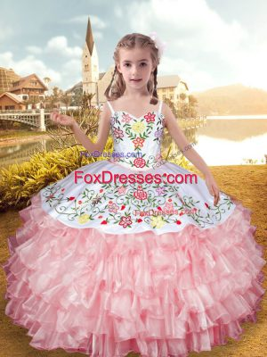 Baby Pink Ball Gowns Straps Sleeveless Organza and Taffeta Floor Length Lace Up Embroidery and Ruffled Layers Little Girl Pageant Gowns