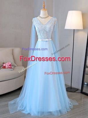 Tulle V-neck Long Sleeves Lace Up Beading and Belt Homecoming Dress in Baby Blue