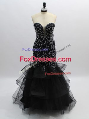 Sleeveless Tulle Floor Length Zipper Evening Dress in Black with Beading and Ruffles