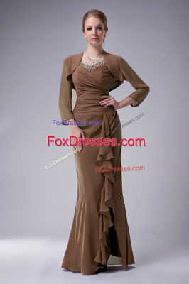 Suitable Chiffon Sleeveless Floor Length Mother Of The Bride Dress and Beading
