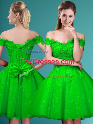 Classical Knee Length A-line Cap Sleeves Court Dresses for Sweet 16 Lace Up