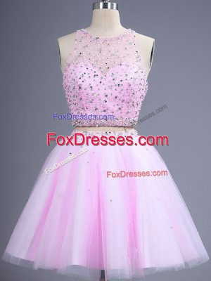 Designer Tulle Scoop Sleeveless Lace Up Beading Quinceanera Court of Honor Dress in Lilac