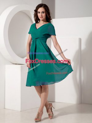 Exquisite Short Sleeves Zipper Knee Length Ruching Mother Of The Bride Dress