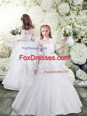 Smart White Ball Gowns Scoop Half Sleeves Tulle Brush Train Lace Up Lace and Ruffles Flower Girl Dresses