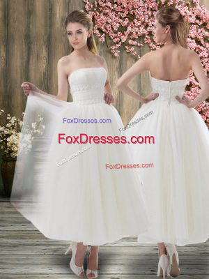 Sweet White Organza Zipper Wedding Gowns Sleeveless Ankle Length Ruching