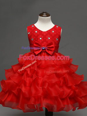 High Class Red Ball Gowns Organza Scoop Sleeveless Lace and Ruffled Layers and Bowknot Knee Length Zipper Little Girl Pageant Gowns
