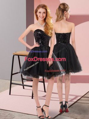 New Style Sweetheart Sleeveless Prom Party Dress Mini Length Sequins Black Tulle