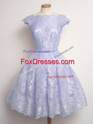 Eye-catching Lavender Cap Sleeves Knee Length Lace Lace Up Dama Dress for Quinceanera