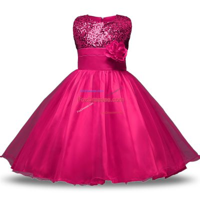 Hot Pink Ball Gowns Scoop Sleeveless Organza and Sequined Knee Length Zipper Belt and Hand Made Flower Flower Girl Dresses for Less