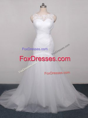 New Style Lace Up Wedding Gowns White for Beach and Wedding Party with Lace and Appliques and Ruching Brush Train