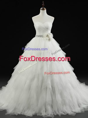 Enchanting Sleeveless Tulle Brush Train Lace Up Wedding Dresses in White with Beading and Ruffles and Hand Made Flower