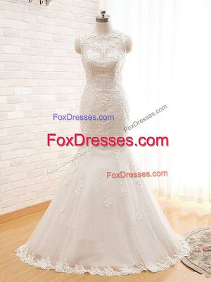 White Tulle Zipper High-neck Sleeveless Floor Length Bridal Gown Lace and Appliques