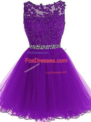 Perfect A-line Prom Evening Gown Eggplant Purple Scoop Tulle Sleeveless Mini Length Zipper