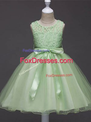 Lace and Belt Flower Girl Dresses Zipper Sleeveless Knee Length