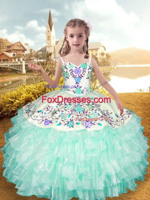 Cute Apple Green Lace Up Custom Made Embroidery and Ruffled Layers Sleeveless Floor Length