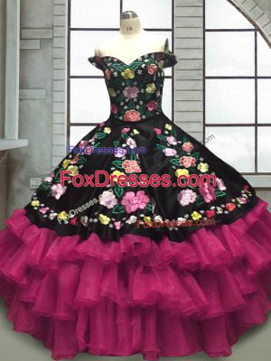 Multi-color Ball Gowns Embroidery and Ruffled Layers 15th Birthday Dress Lace Up Organza and Taffeta Sleeveless Floor Length